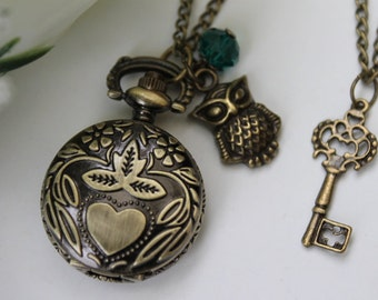 Victorian Style Heart and Flower Pocket Watch Necklace with Owl and Key Charm