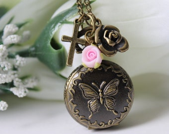 Victorian Style Butterfly Pocket Watch Necklace With Rose Flower and Cross Charm