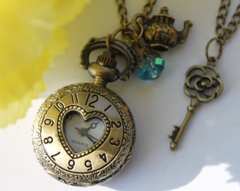 Warm my heart - Antiqued Numeral Heart Pocket Watch Necklace with Teapot and Rose Key Charm