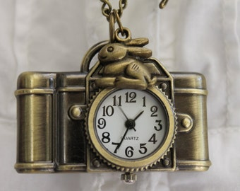Alice in Wonderland - Antique Camera Pocket Watch Necklace with Rabbit and Rose Flower Charm