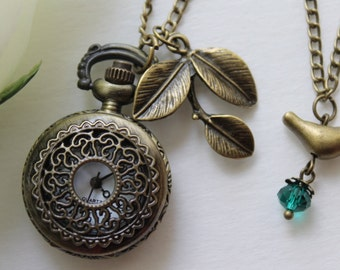 Victorian Filigree Flower Pocket Watch Necklace with Leaf and Bird Charm