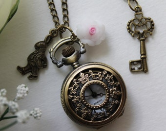 Alice in Wonderland - Vintage Filigree Leaves Pocket Watch Necklace With Rabbit and Key Charm