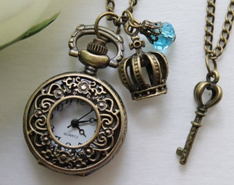 Vintage Style Filigree Flower Pocket Watch Necklace with Crown and Key Charm