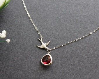 Bird Carry Ruby Faceted Triangle Glass Stone Lariat Necklace, Sterling Silver, Mother's Day, Gift