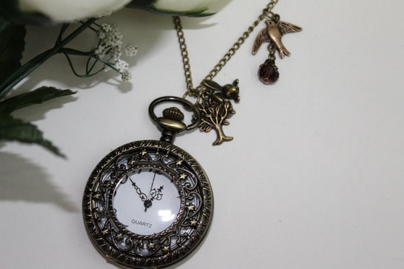 Vintage Filigree Star Pocket Watch Necklace with Tree, Bunny and Swallow Charm
