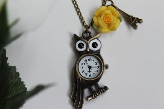 Vintage Style Mr. Owl Pocket Watch Necklace