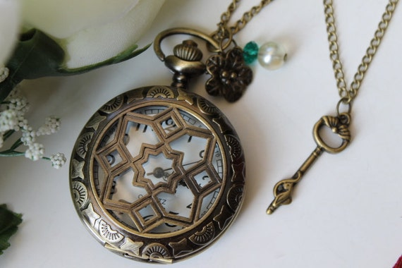 Vintage Style Filigree Moon & Star Pocket Watch Necklace With Flower and Key Charm