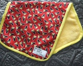 SUPER SOFT Burp Cloth- Fire Hats Red with Yellow