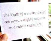 Inspirational Christian Postcard FAITH of a MUSTARD SEED with envelope