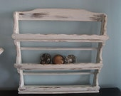 Shabby Cream Open Wall Cabinet Spice Rack