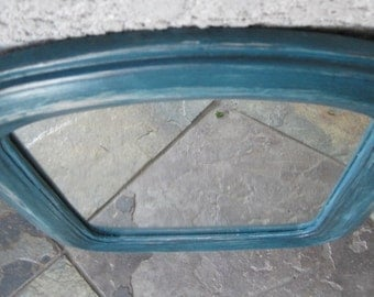 Primitive Rustic Arched Wood Framed Mirror - Grunge Distressed Dirty Turquoise/Teal Blue