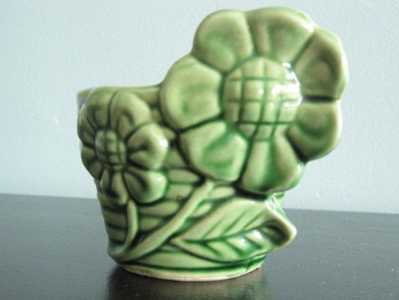 Usa Pottery Coil Flower Pot In Green By Spinyourdream On Etsy