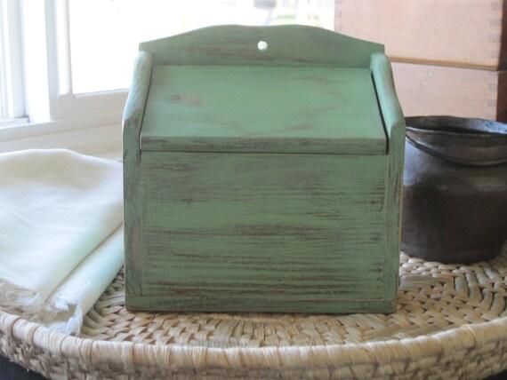Shabby Rustic Kitchen Recipe Box in Pepper Green