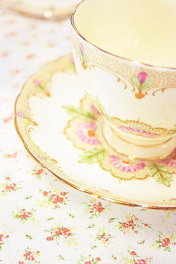 Rose's Tea For One. Tea Set & Flower photograph - soft, dreamy,  vintage colour - fine art print 4x6