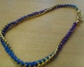 Woven chain friendship bracelet- tie-dye blue