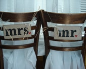 Mr and Mrs Chair Markers, Wedding Reception Chair Signs, Rustic Mr and Mrs Chair Tags, Photo Props ,Reception Decorations