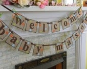 WELCOME BABY Banner/ Baby Shower Decoration/ Polka Dots/ Nursery Decor/ Photo Prop/ Birth Announcement/ You Pick the Colors