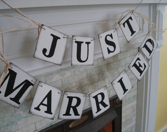Rustic JUST MARRIED Car Sign , Wedding Reception Decorations , Just Married Banner Photo Prop , Great for the Back of Your Car