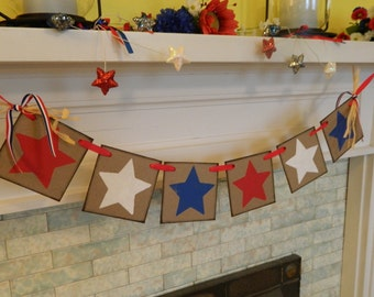 Red White and Blue Fourth of July Banner , July 4th Garland , Patriotic Garland , Country Fourth of July banner,