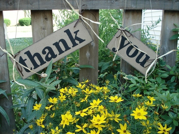 Rustic Style Thank You Card Signs Wedding Reception PHOTO BOOTH Props Wedding Day Garland