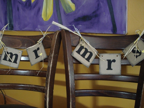 Rustic Style Mr/Mrs Chair Hangs or Photo Props Wedding Banners