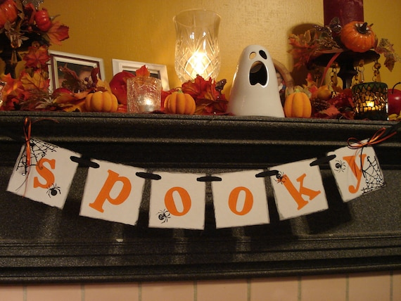 Halloween Decorations - SPOOKY Banner - Halloween Garland - Halloween Banners - Spooky Halloween Party Sign /Halloween/Photo Prop-