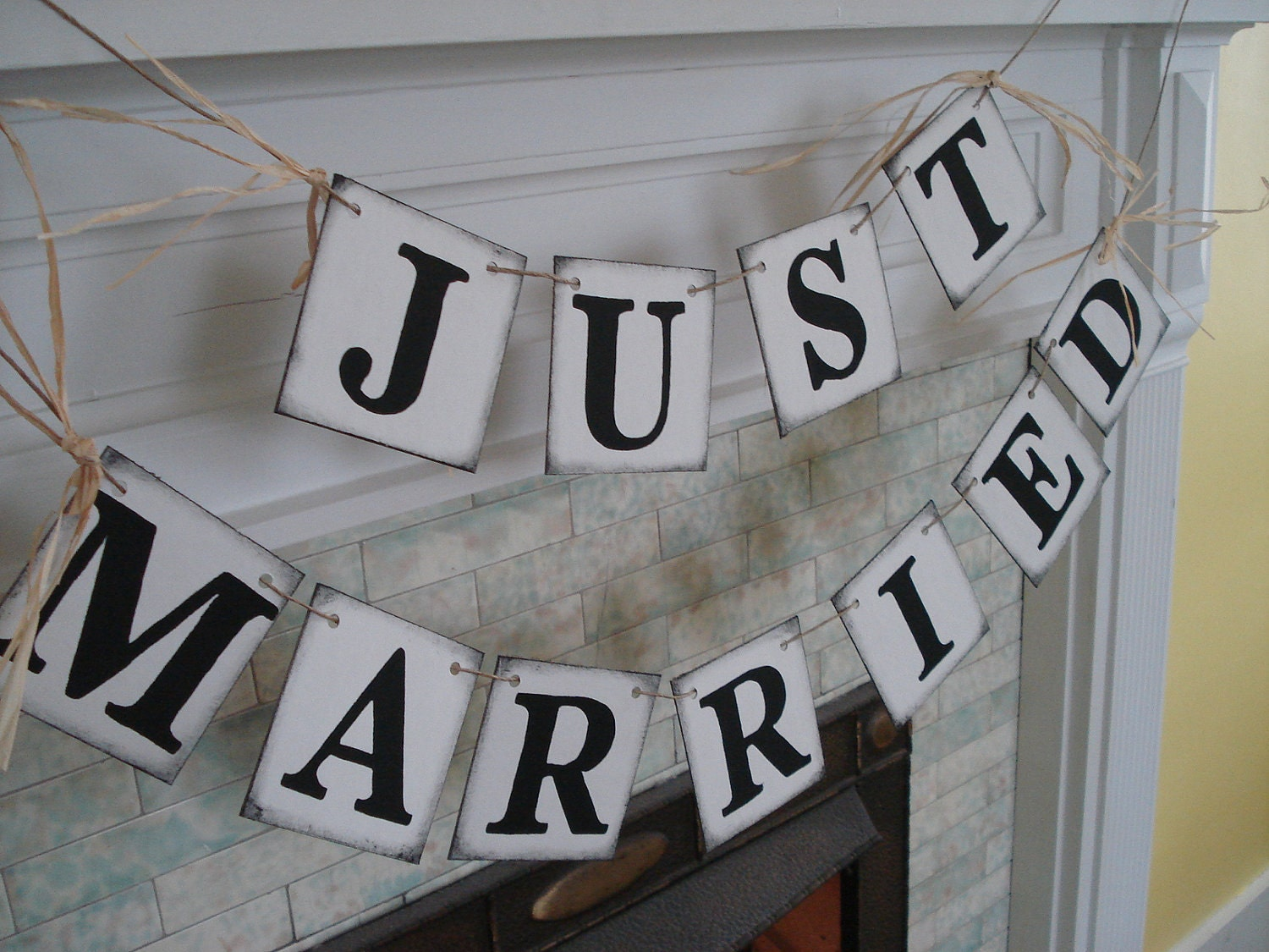 Rustic just married car sign wedding reception decorations for Just married dekoration