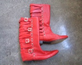 Marc Jacobs red leather multi-buckle boots - Size 36