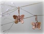 Brass Butterfly earrings - Romantic golden ox brass earrings. Small earrings. Gift for her