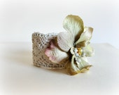 Delphinium -Romantic Lace Cuff - Whimsical-Silk fabric flower.Ecru,sage,moss green,ivory- .Glass pearls.Bridal jewelry for her