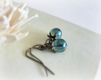 Blueberries - small romantic earrings iridiscent  teal blue turquoise glass drops brass leaves everyday jewelry under 10
