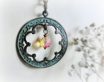 Boronia - Romantic  necklace verdigris blue teal patina pendant pink yellow rosebud czech glass bead.Gift for her valentine idea