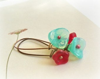 Red and Blue Tulips earrings - teal burgundy Czech glass flowers kidney copper earwires gift for her