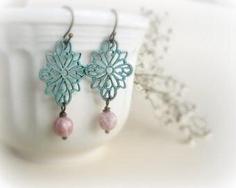 Silene-Romantic earrings-Teal blue verdigris patina,soft pik Czech glass beads,flowers and leaves filigree.Gift for her