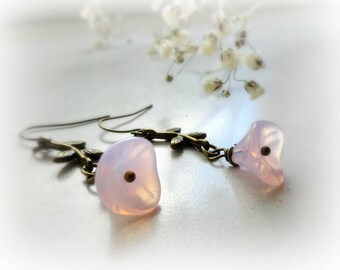 Pink petunias - Romantic flower earrings Soft pastel pink opalescent Czech Glass flowers brass leaves branches vintage style gift for he