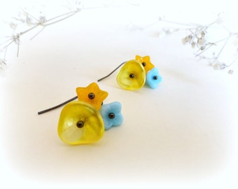 Buttercups Bouquets-Romantic earrings- autumn, fall, Czech glass  flowers,yellow, turquoise blue,orange.Gift for her.Nature lover.