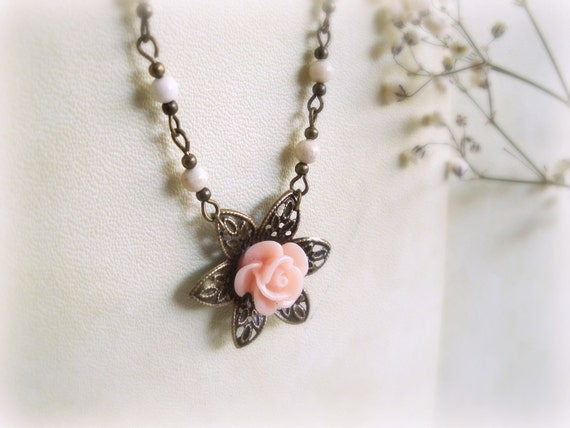 Powder rose - Romantic Necklace floral Soft pink rose flower cameo ivory fossil stones antiqued brass spring jewelry