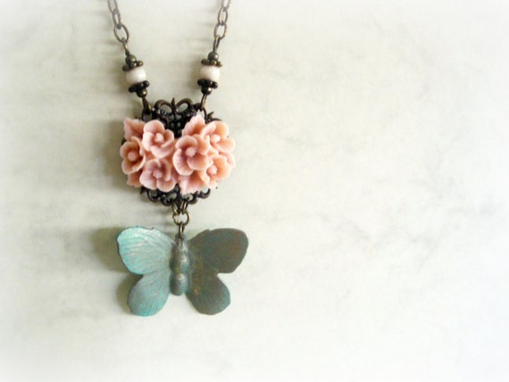 Butterfly and roses - Romantic Necklace blue turquoise Pink resin flower cameo verdigris patina ivory filigree gift for her Woodland jewelry