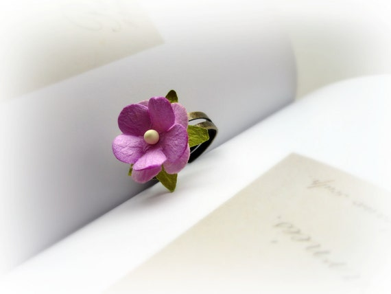 Paper Rose - Romantic Adjustable Ring purple pink yellow stamen soft pink petals moss green leaves floral spring jewelry Gift for her