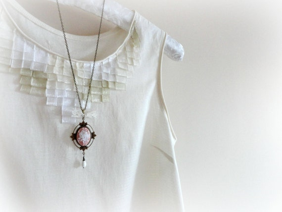 Mosqueta rose - Romantic Necklace Soft pink and white resin flower cameo leaves brass setting lace bow glass drop gift for her