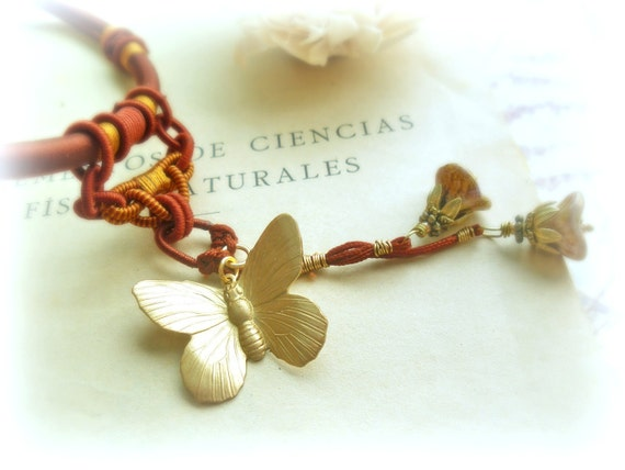Oriental butterfly-Silk &brass necklace-maroon,brown,gold.Adjustable necklace.Woodland accessories- gift for her.Holiday Jewelry