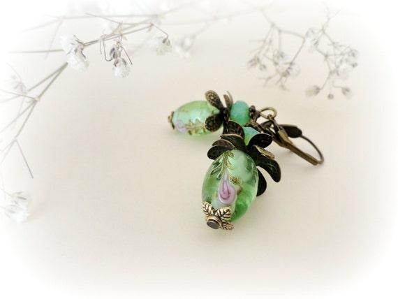 Green Pine apples-Romantic earrings-artisan lampwork glass beads-antiqued brass flower & leaves caps-gift for her