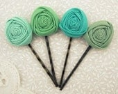 Green Ombre Flower Hair Pins Grips Clips in Pale Pond, Asparagus, Celadon & Candy Fabric Roses. Bridal Set