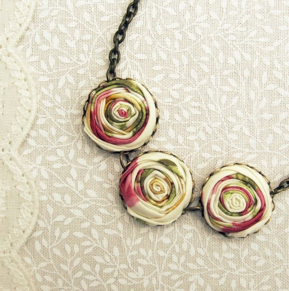 Pink River Rose Necklace in Petite French Posy, Moss Green & Golden Yellow Floral Fabric Flowers