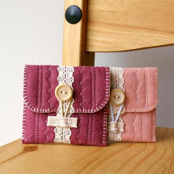 Wool Felt Coin Purse Wallet ... Oh So Sweet (Blush Pink)