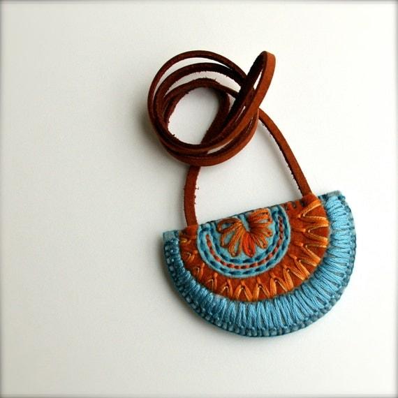 OOAK Wool Felt Necklace // Hand Embroidered // LoftFullOfGoodies