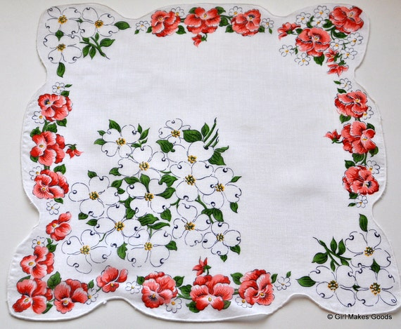 Vintage Floral Handkerchief with Dogwoods--No. 2168