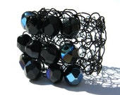 Jet Black Cocktail Ring, Knitted Wire, Irridescent Glass Beaded Ring
