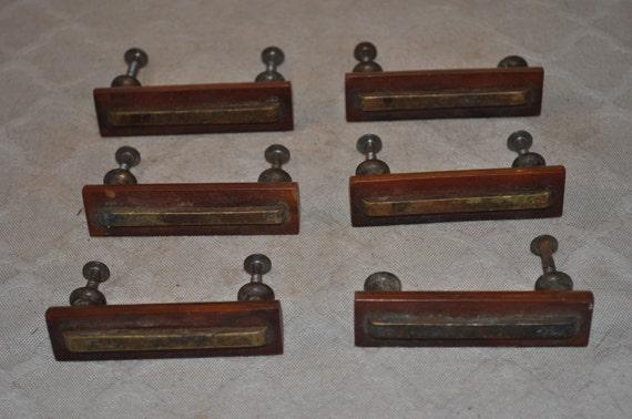 Antique Bakelite Drawer Pulls W Brass Inlay Set Of 6