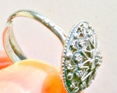 Silver Filigree Ring, Lace, Vintage, Indonesian, Boho, Elegant, 1970s from TheWildRoses